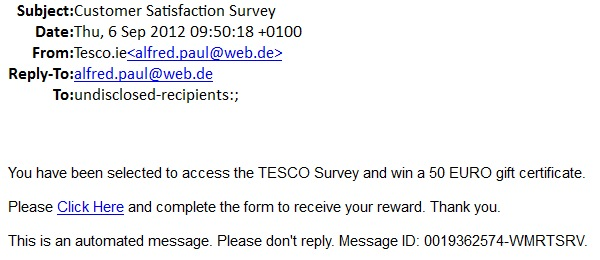 Ict Network Certificate Scams Tesco Portal Developer Irish Fake Gift